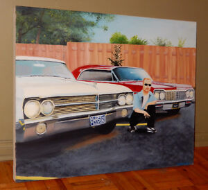 GRANDE TOILE 1965 BUICK LESABRE & 1964 CHEVY IMPALA PAINTIING
