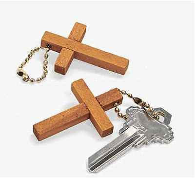 1 Wooden Cross Key Chains**NEW**Free S/H when u buy 6 items from my store - Cross Key Chains