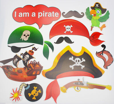 11pcs Photo Booth Props Pirate Princess Emoticon Kids Party Deco Supplies CN1 B - Pirate Photo Booth Props