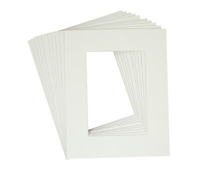 Pack of 10 8x10 White Picture Mats with White Core for 5x7 +Backing +Bags