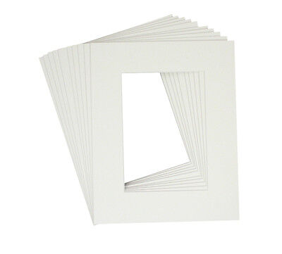 Set of 50 WHITE 8x10 Picture Mats Matting with WhiteCore for 5x7 +Backing +Bags