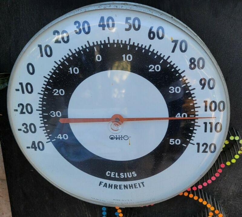 "Vintage Ohio Thermometer Co. Original 12"" Jumbo Dial Thermometer Metal Frame USA"