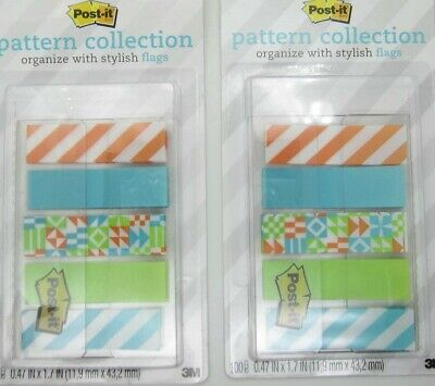 Lot Of 2 New Sealed Post-it Pattern Collection Organize Stylish Flags 100 Each