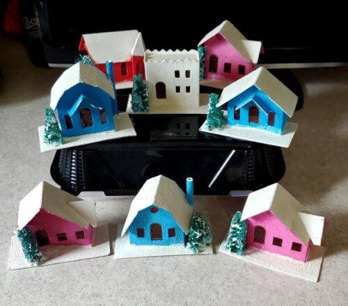 VTG Lot of 8 Putz Cardboard Christmas Houses Made in Japan colored