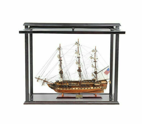 "USS Constitution Old Ironsides Model 29"" Tall Ship w/ Opening Front Display Case"