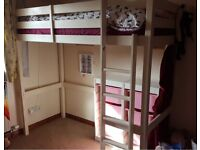 Chester High Sleeper Bunk Bed finished in magnolia with mattress