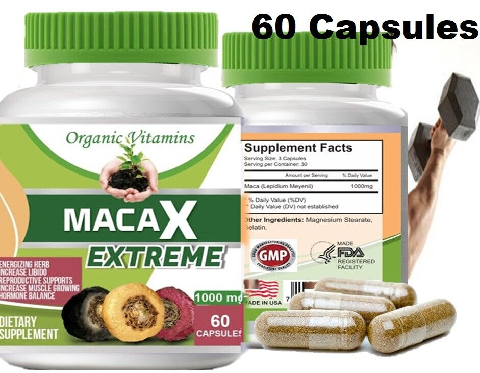 Organic vitamins Maca 1000mg extract 60 caps gold red black blend Energizing Her 2