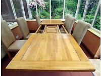 Extending Solid Oak Dining Table + 6 Chairs