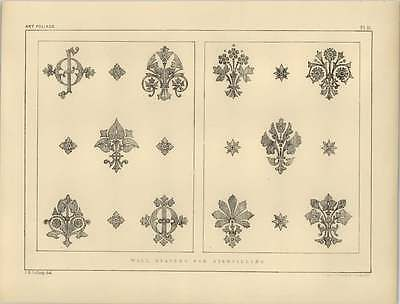 1878 Foliage Wall Diapers For Stencilling Decor (Diaper Drawing)