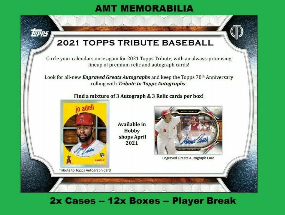 Matt Olson Oakland Athletics 2021 Topps Tribute 2X CASE 12X BOX BREAK 2 - $8.27