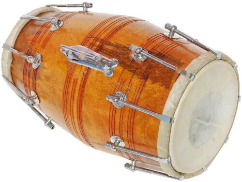 DHOLAK DRUMS~BOLT TUNED~MANGO WOOD~DHOLAKI~YOG~HAND MADE INDAN~FREE GIG BAG, KEY