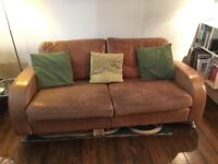 'Vintage' tan leather sofa (and armchair)