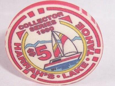 HARRAH'S CASINO CHIPS SAIL BOAT 1990 ISSUE $5   CHIP LAKE TAHOE NEVADA