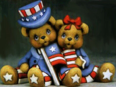 Ceramic Bisque Ready to Paint Uncle Sam and Aunt Betsy Bear cuddlers with a Flag