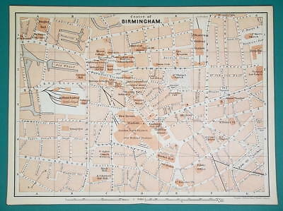 1897 BAEDEKER MAP - BIRMINGHAM City Plan England