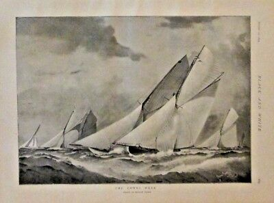 Yacht Racing, Sailing, The Cowes Week, English, Vintage 1895 Antique Art Print