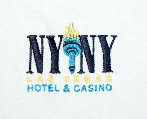 VTG NY NY Las Vegas Hotel & Casino White Short Sleeve Polo Golf Shirt Mens S NWT