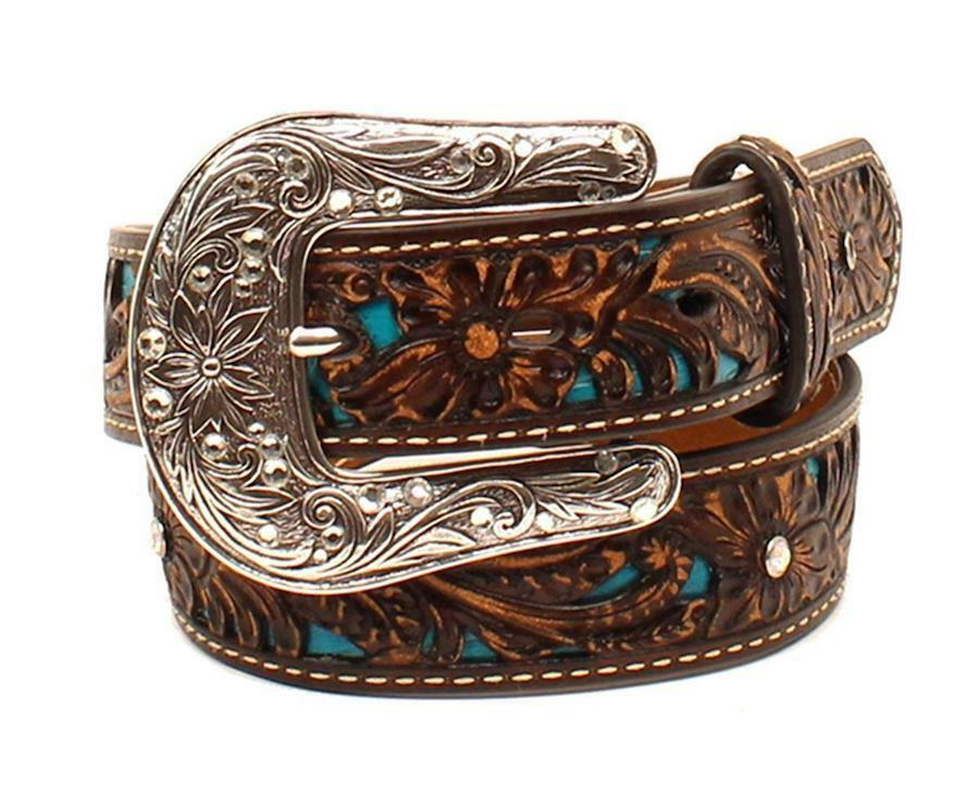 Ariat Girls' Brown & Turquoise Tooled Western Belt A1304027