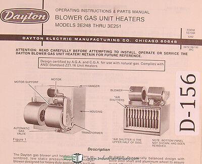 Dayton Blower Gas Unit Heaters Model 3e248 Thru 3e251 Operation Parts Manual