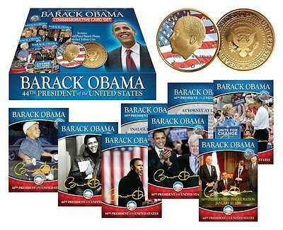 Lot Of 2 Barack Obama Complete 44 Card Set Plus 24K Gold Plated Coin New Sealed