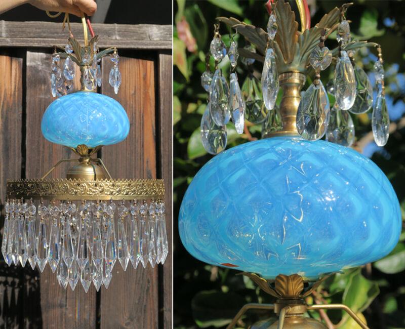 Vintage SWAG Lamp chandelier MURANO Venetian Turquoise Opaline Glass brass