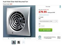 hush matt silver 100mm wall fan with timer & humidity sensor new unused