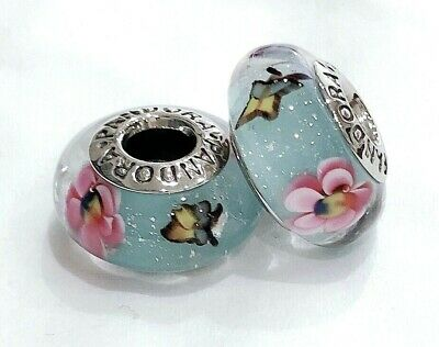 2 Authentic Pandora Silver 925 Murano Flower Garden Butterfly Charm Beads #254