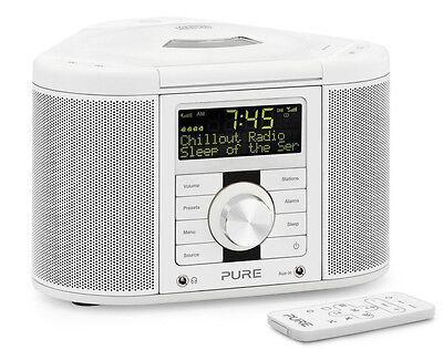 pure chronos cd series 2 dab fm cd stereo alarm clock radio white with remote ebay. Black Bedroom Furniture Sets. Home Design Ideas