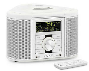 pure chronos cd series 2 dab fm cd stereo alarm clock radio white with remote ebay. Black Bedroom Furniture Sets. Home Design Ideas