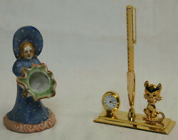 3  CAT & CLOCK DESK CADDY WITH PEN & CERAMIC HAND PAINTED WOMAN IN BONNET