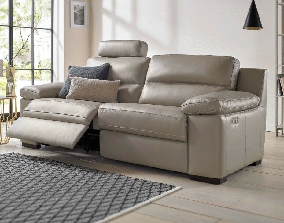 Sofology Lazio 3 Seater Electric Recliner Leather Sofa With 2 Chairs