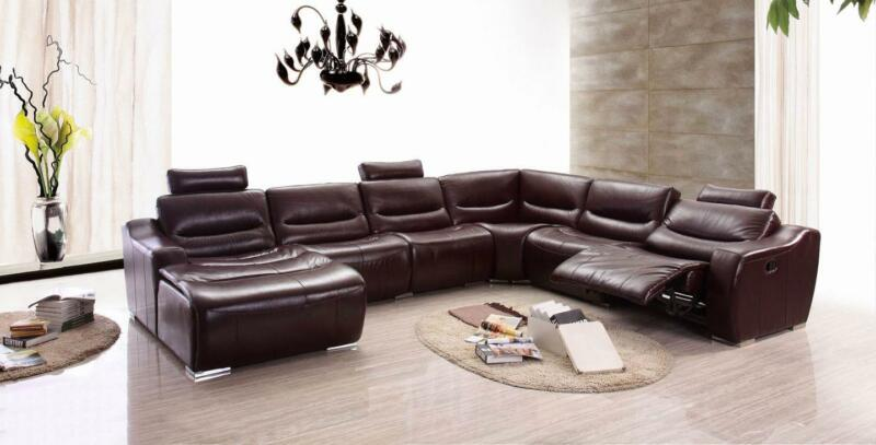 Modern Dark Brown Genuine Italian Leather Sectional Sofa Recliner Lhc Esf 2144