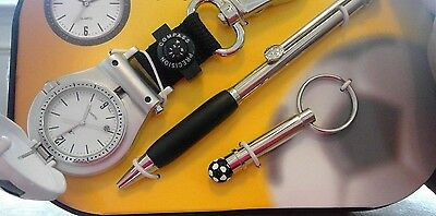 COLIBRI soccer watch key ring pen gift set new old stock