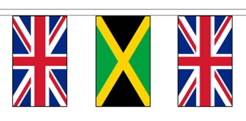 Jamaica & United Kingdom UK Polyester Flag Bunting - 20m with 56 Flags
