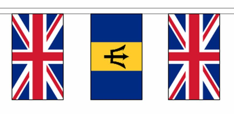 Barbados & United Kingdom UK Polyester Flag Bunting - 10m with 28 Flags