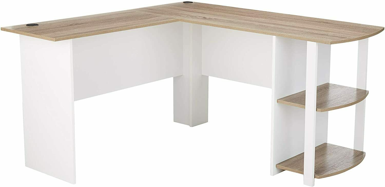 Ameriwood Home Dakota L-Shaped Desk with Bookshelves, White/