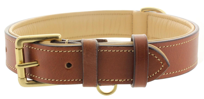 Viosi Dog Collar, Premium Tan Buffalo Hide Leather Padded Interior Eco Friendly!