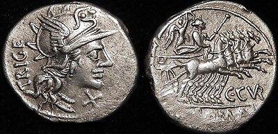 MORTOWN C. Curiatius Trigeminus 142 BC Silver Denarius Roma + Goddess in Biga