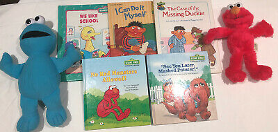 SESAME STREET Books BUNDLE INCLUDES Plush Soft Toys ELMO COOKIE MONSTER Vintage