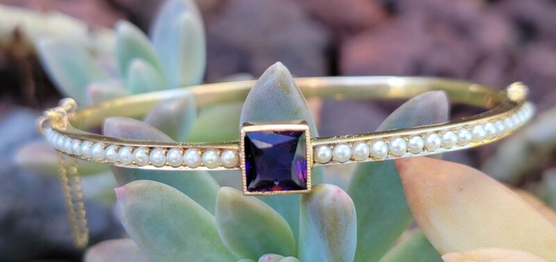 Birks Antique 14k Gold Amethyst Seed Pearl Bangle Bracelet-Estate Jewelry 8.9g