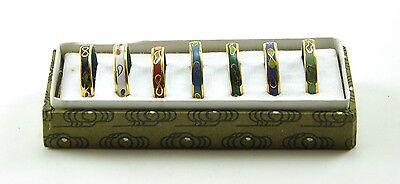 7 x Vintage Chinese Cloisonne Enamel Fashion Ring Set Handmade Size 8