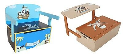 Kiddi Style Childrens Pirate Wooden Convertible Toy Box Chest Storage Chair Seat (Pirate Chest Toy Box)
