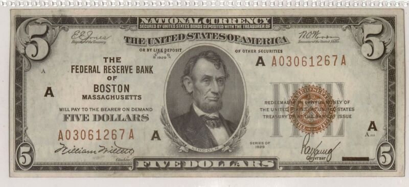 1929 $5 Federal Reserve Bank Note   Small Size Note   Brown Seal   Boston, A