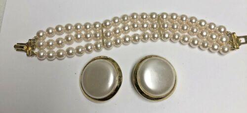 Vintage RICHELIEU Pearl Bracelet & Big Earrings