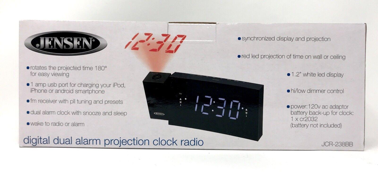 Jensen Dual Alarm Clock w/ FM Radio,USB Charging & Time Projection LED Display
