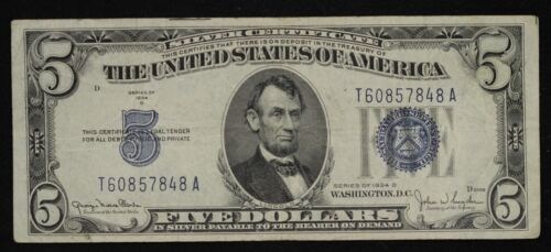 1934 Five Dollar Bill Blue Seal Note Randomly Hand Picked Vg/Fine FREE SHIPPING
