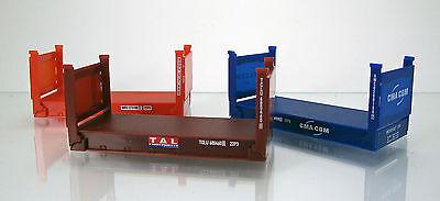 Herpa 076579 Zubehör 20 Fuss Flatcontainer 3 Stück rot braun blau Scale 1 87 NEU