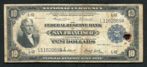"""1918 $2/$10 """"BATTLESHIP"""" FRBN FEDERAL RESERVE BANK NOTE """"RAISED NOTE"""""""