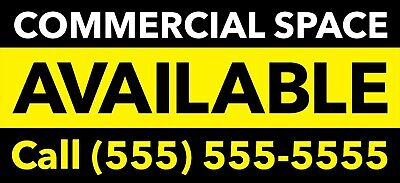 Commercial Space Available Vinyl Banner Flag Sign Lease Rent Waterproof 96x44