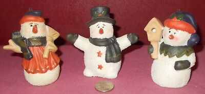 Set of 3 Ceramic SNOWMAN FIGURINE Snowmen Figurines Christmas Holiday ^